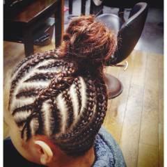 お祭り 編み込み セミロング 夏 ヘアスタイルや髪型の写真・画像