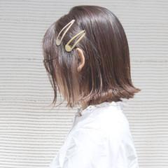 フェミニン 外ハネ ボブ 簡単ヘアアレンジ ヘアスタイルや髪型の写真・画像
