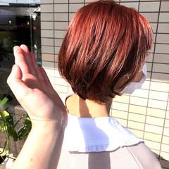 ミニボブ ボブ フェミニン ピンク ヘアスタイルや髪型の写真・画像