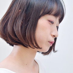 大人女子 小顔 ボブ ワンレングス ヘアスタイルや髪型の写真・画像