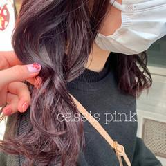 フェミニン ラベンダー ラベンダーピンク ミディアム ヘアスタイルや髪型の写真・画像