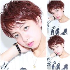 ショートボブ 外国人風 ピンク レッド ヘアスタイルや髪型の写真・画像