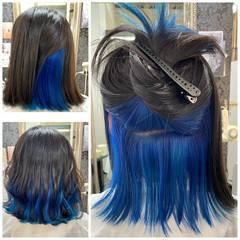 切りっぱなしボブ ストリート インナーカラー ミディアム ヘアスタイルや髪型の写真・画像