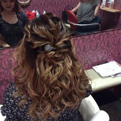 ナチュラル 結婚式 ミディアム ヘアアレンジ ヘアスタイルや髪型の写真・画像