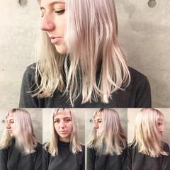ボブ ブラントカット ブリーチ ハイライト ヘアスタイルや髪型の写真・画像