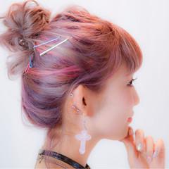 簡単ヘアアレンジ ハイライト ショート ミディアム ヘアスタイルや髪型の写真・画像