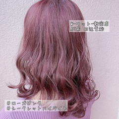 ピンクカラー アンニュイほつれヘア 結婚式 セルフヘアアレンジ ヘアスタイルや髪型の写真・画像