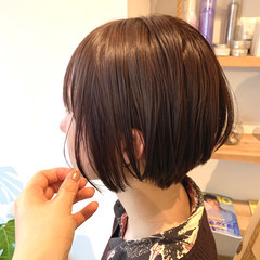 ナチュラル ラベージュ ショートボブ 透明感カラー ヘアスタイルや髪型の写真・画像