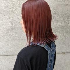 ナチュラル ボブ 前髪パッツン 赤髪 ヘアスタイルや髪型の写真・画像