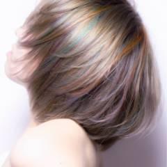 モード ミディアム ストリート グレーアッシュ ヘアスタイルや髪型の写真・画像