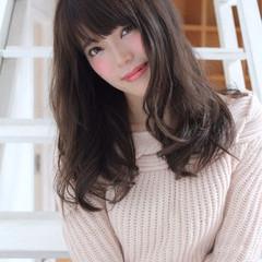 セミロング フェミニン 秋 パーマ ヘアスタイルや髪型の写真・画像