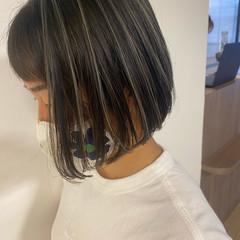 ボブ 極細ハイライト ナチュラル 透明感カラー ヘアスタイルや髪型の写真・画像