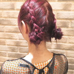 夏 ガーリー ミディアム お団子 ヘアスタイルや髪型の写真・画像