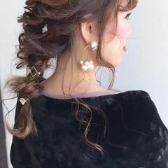 ロング ナチュラル 編み込み ヘアアレンジ ヘアスタイルや髪型の写真・画像