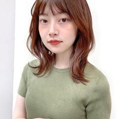 ミディアム ミディアムヘアー シースルーバング 大人ミディアム ヘアスタイルや髪型の写真・画像
