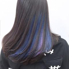 モード ブルー インナーカラー 黒髪 ヘアスタイルや髪型の写真・画像
