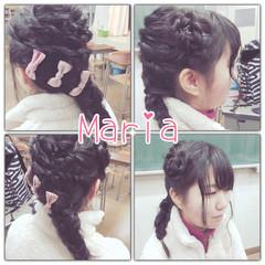 ねじり 三つ編み ヘアアレンジ フィッシュボーン ヘアスタイルや髪型の写真・画像