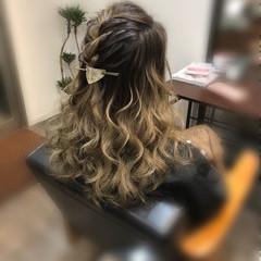 ヘアアレンジ ハーフアップ 編み込みヘア セミロング ヘアスタイルや髪型の写真・画像