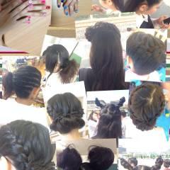 編み込み ヘアアレンジ 謝恩会 ヘアスタイルや髪型の写真・画像