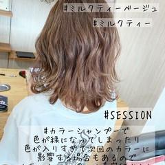 ベージュ ガーリー ミディアム ハイトーン ヘアスタイルや髪型の写真・画像