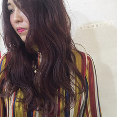 ロング ピンク 冬 フェミニン ヘアスタイルや髪型の写真・画像