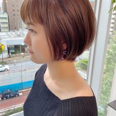 デート ショートボブ オフィス ショート ヘアスタイルや髪型の写真・画像