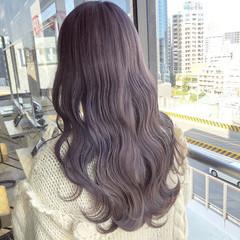 ピンクラベンダー ラベンダーアッシュ ロング ラベンダーグレージュ ヘアスタイルや髪型の写真・画像