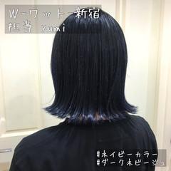ブルージュ ショート ブルーブラック ネイビーブルー ヘアスタイルや髪型の写真・画像