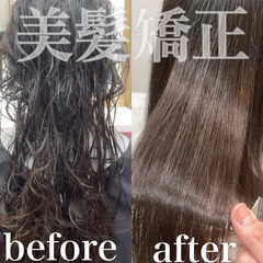 艶髪 ナチュラル ストレート 縮毛矯正 ヘアスタイルや髪型の写真・画像