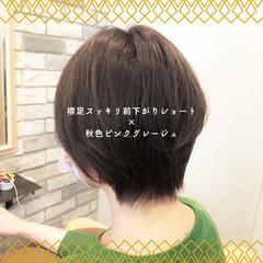 グレージュ 前髪 ショート ストレート ヘアスタイルや髪型の写真・画像