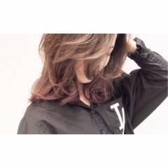 アッシュ 黒髪 ストレート グラデーションカラー ヘアスタイルや髪型の写真・画像