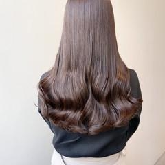 ブリーチなし セミロング ミルクティーグレージュ ヨシンモリ ヘアスタイルや髪型の写真・画像