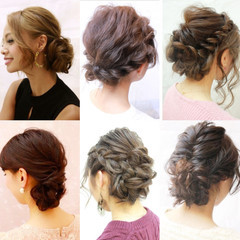 ヘアアレンジ 編み込み まとめ髪 謝恩会 ヘアスタイルや髪型の写真・画像
