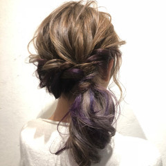 ナチュラル 簡単ヘアアレンジ インナーカラー ミルクティーベージュ ヘアスタイルや髪型の写真・画像