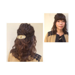 ストリート 簡単ヘアアレンジ 波ウェーブ 結婚式 ヘアスタイルや髪型の写真・画像