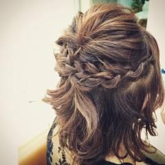 ヘアアレンジ 結婚式 ゆるふわ ミディアム ヘアスタイルや髪型の写真・画像