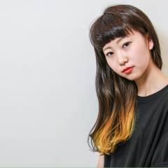 ガーリー ダブルカラー ロング グラデーションカラー ヘアスタイルや髪型の写真・画像