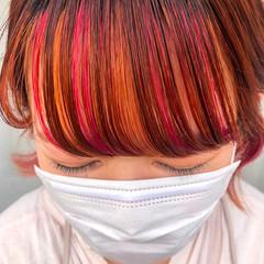 オレンジ ベリーピンク オレンジカラー ショート ヘアスタイルや髪型の写真・画像