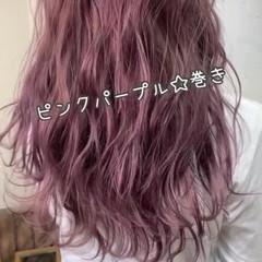 ピンクラベンダー ガーリー 美髪 ラベンダーピンク ヘアスタイルや髪型の写真・画像