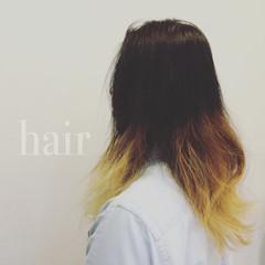 パーマ グラデーションカラー セミロング ハイトーン ヘアスタイルや髪型の写真・画像