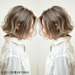ミルクティー ボブ ナチュラル ニュアンス ヘアスタイルや髪型の写真・画像