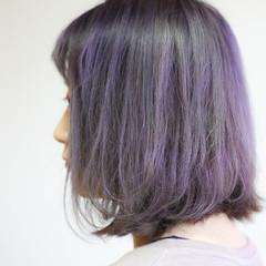 アッシュバイオレット ブルーバイオレット ミディアム 外国人風カラー ヘアスタイルや髪型の写真・画像