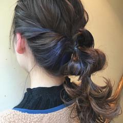 ストリート インナーカラー パープル セミロング ヘアスタイルや髪型の写真・画像