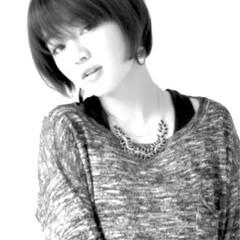モード アッシュ 小顔 ショートボブ ヘアスタイルや髪型の写真・画像
