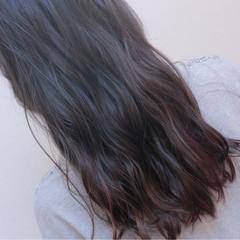 アッシュ 暗髪 ハイライト グラデーションカラー ヘアスタイルや髪型の写真・画像
