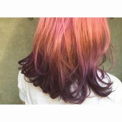 パーマ モード ミディアム 暗髪 ヘアスタイルや髪型の写真・画像