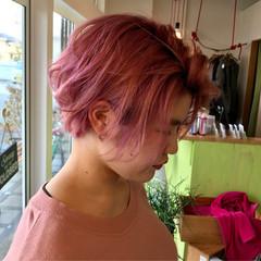 大人かわいい ピンク ショート ストリート ヘアスタイルや髪型の写真・画像