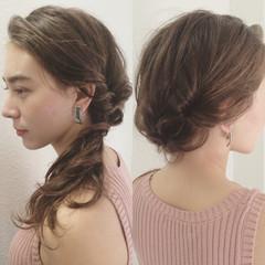 簡単ヘアアレンジ ゆるふわ セミロング ショート ヘアスタイルや髪型の写真・画像