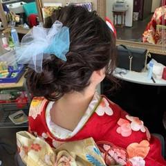 簡単ヘアアレンジ ナチュラル セミロング ふわふわヘアアレンジ ヘアスタイルや髪型の写真・画像