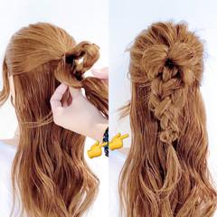 三つ編み ヘアアレンジ ロング くるりんぱ ヘアスタイルや髪型の写真・画像